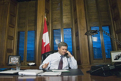 Canadian Prime Minister Stephen Harper. He can't afford his cellphone bill, either.