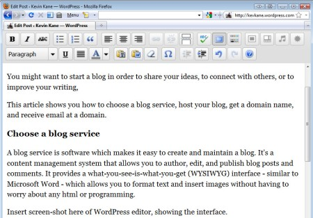 The WordPress interface for editing posts. If you can use Microsoft Word, you can use WordPress.